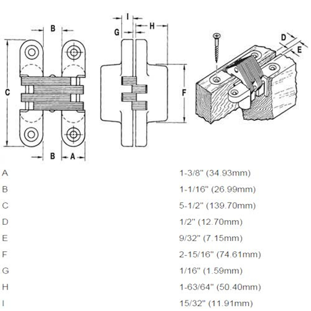 220PT1-US26D Soss Invisible Hinge