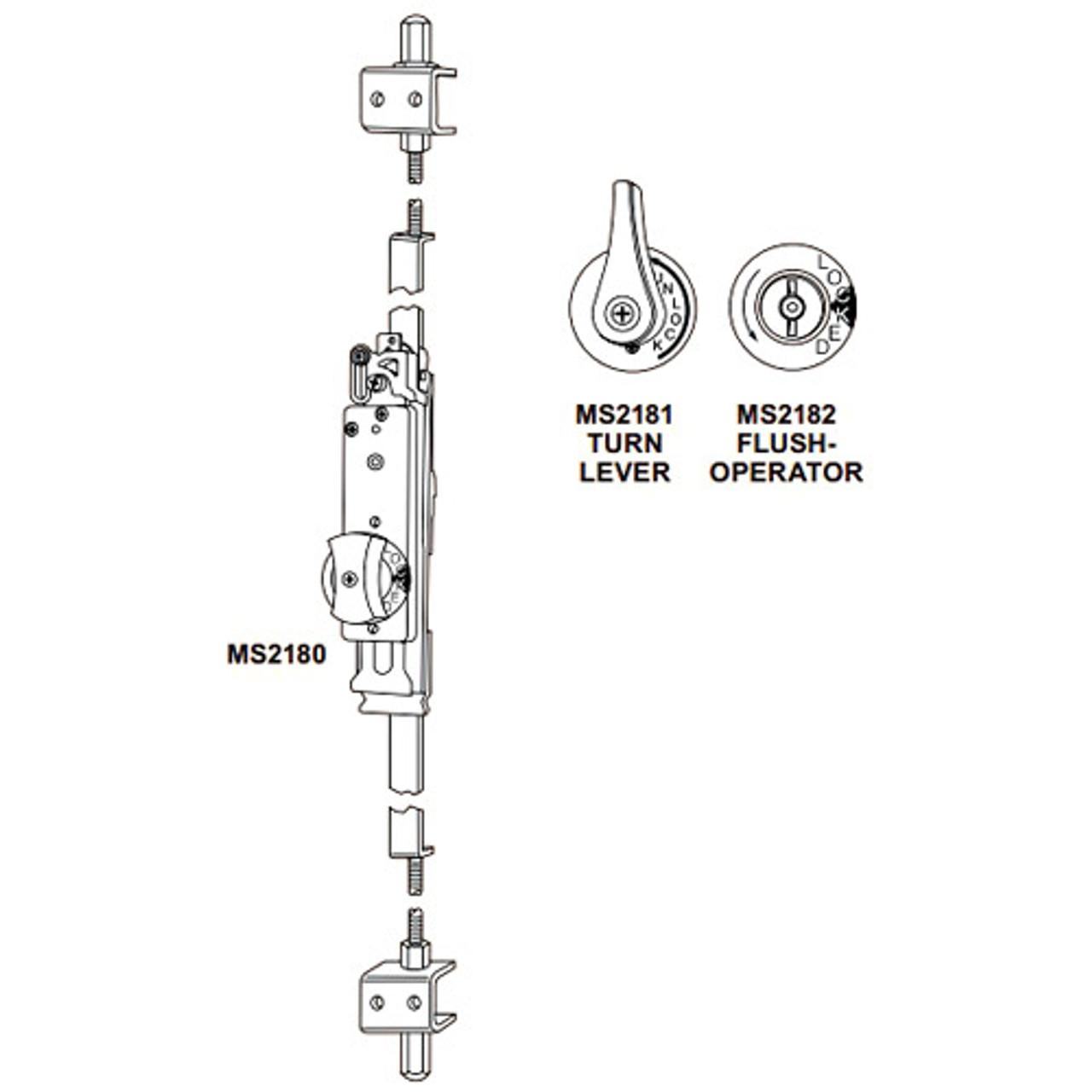 MS2182-10-130 Adams Rite Flushbolt in Clear Anodized Finish