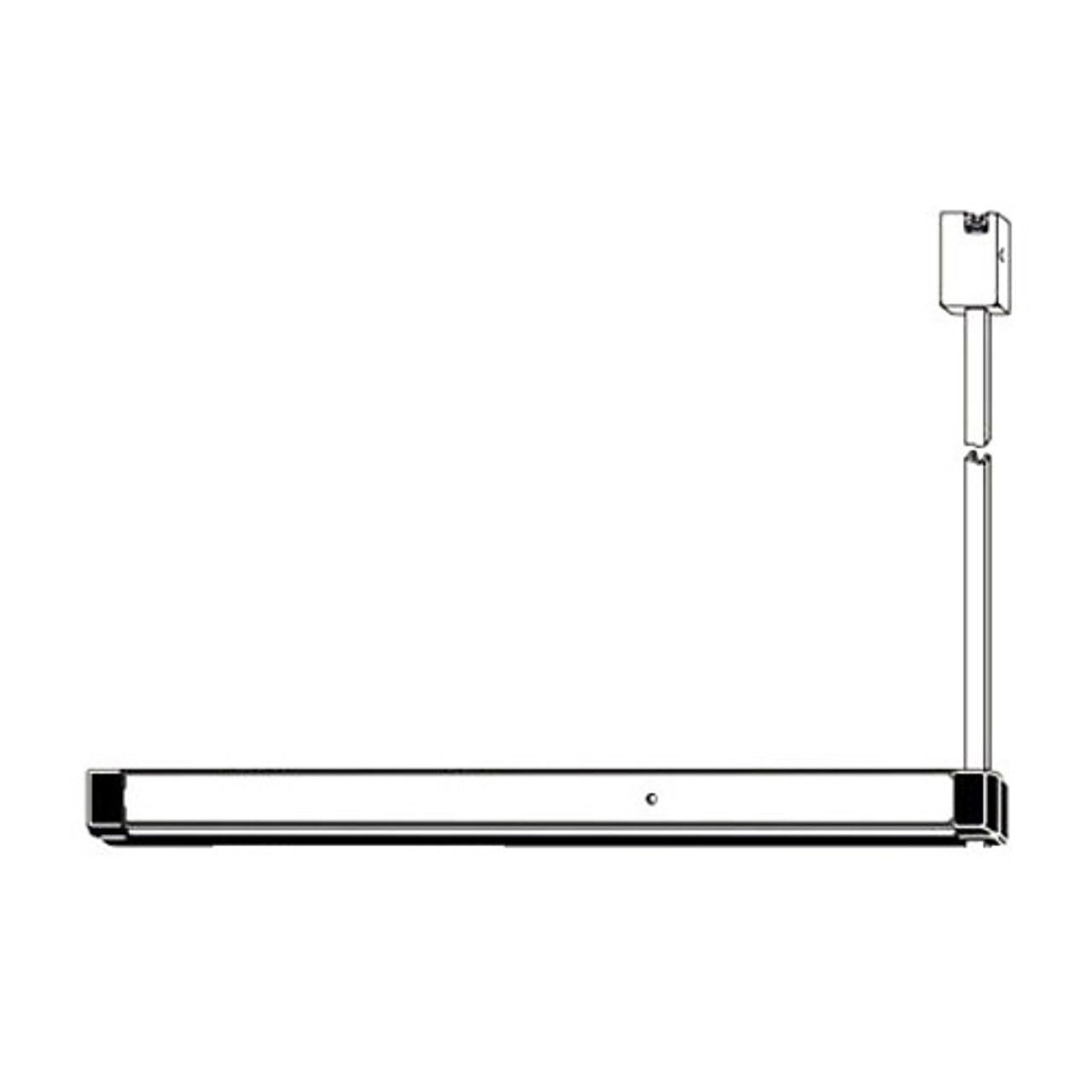 8200T-LRM-36-US3 Adams Rite Narrow Stile Surface Vertical Rod Exit Device in Bright Brass