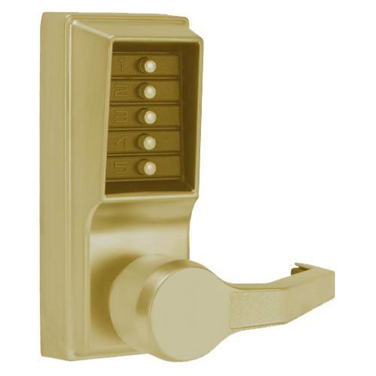 LR1032-05-41 Simplex Pushbutton Lever Lock with No Key Override in Antique Brass
