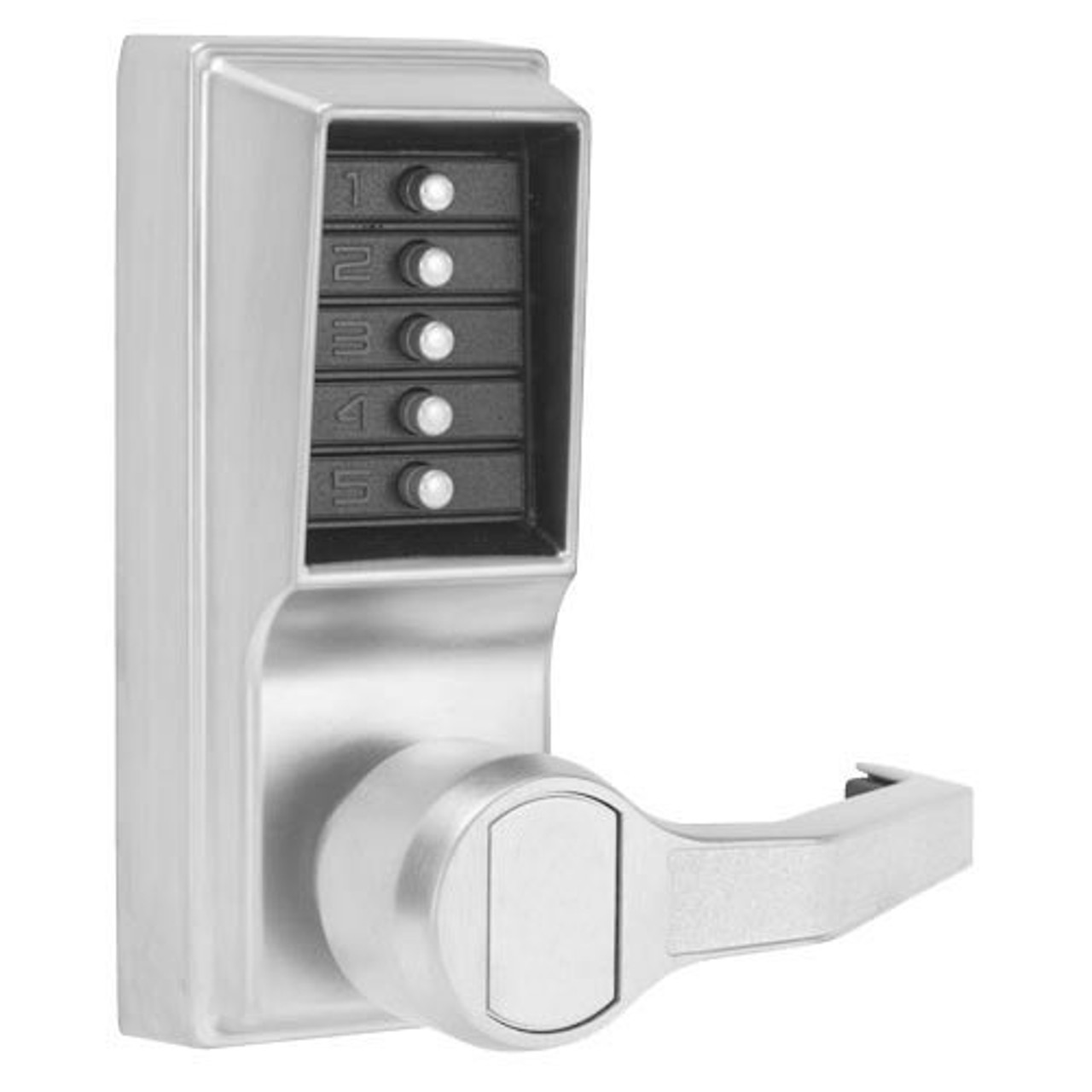 LR1011-26D-41 Simplex Pushbutton Lever Lock with No Key Override in Satin Chrome