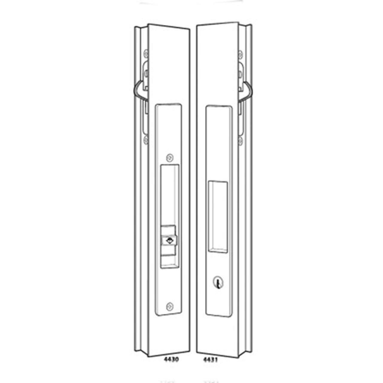 4431-10-00-IB Adams Rite Flush Locksets for Sliding Doors Including Deadlock