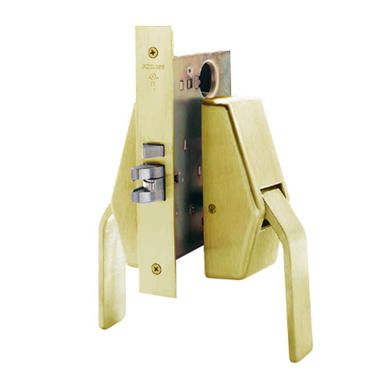 HL6-9082-606 Glynn Johnson HL6 Series Institution Function Push and Pull latch with Mortise Lock in Satin Brass Finish