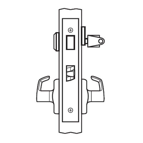 BM19-VH-03 Arrow Mortise Lock BM Series Dormitory Lever with Ventura Design and H Escutcheon in Bright Brass