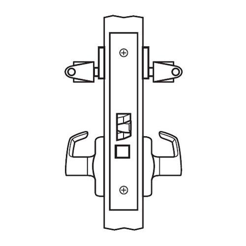BM33-VH-03 Arrow Mortise Lock BM Series Storeroom Lever with Ventura Design and H Escutcheon in Bright Brass