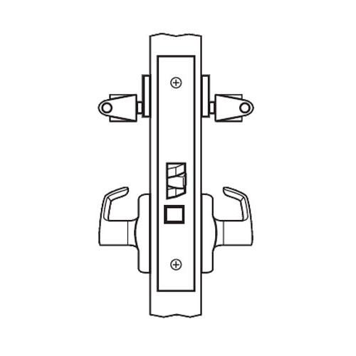 BM38-VH-03 Arrow Mortise Lock BM Series Classroom Security Lever with Ventura Design and H Escutcheon in Bright Brass