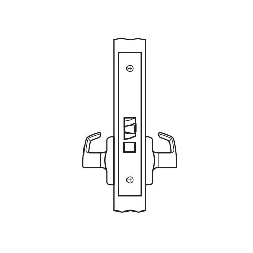 BM01-BRH-03 Arrow Mortise Lock BM Series Passage Lever with Broadway Design and H Escutcheon in Bright Brass