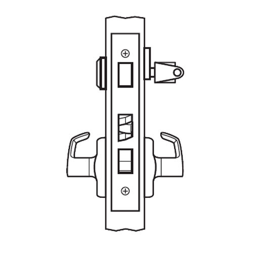 BM21-BRH-03 Arrow Mortise Lock BM Series Entrance Lever with Broadway Design and H Escutcheon in Bright Brass