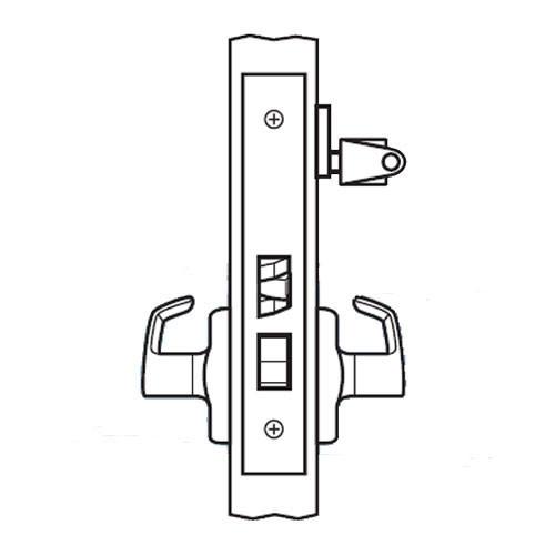BM23-BRH-03 Arrow Mortise Lock BM Series Vestibule Lever with Broadway Design and H Escutcheon in Bright Brass