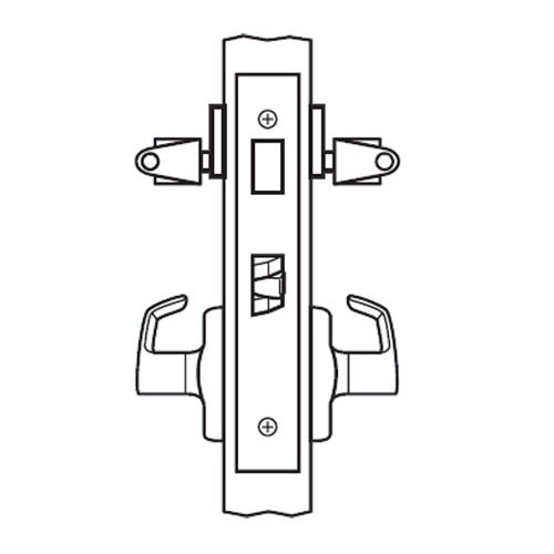 BM31-BRH-03 Arrow Mortise Lock BM Series Storeroom Lever with Broadway Design and H Escutcheon in Bright Brass