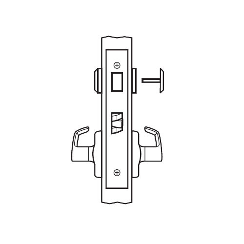 BM02-BRG-03 Arrow Mortise Lock BM Series Privacy Lever with Broadway Design and G Escutcheon in Bright Brass