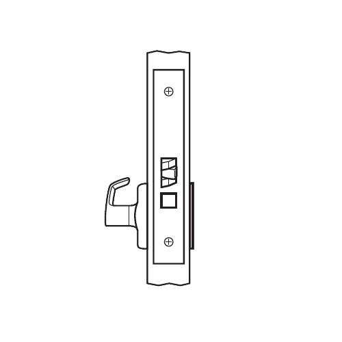 BM07-BRG-32D Arrow Mortise Lock BM Series Exit Lever with Broadway Design and G Escutcheon in Satin Stainless Steel