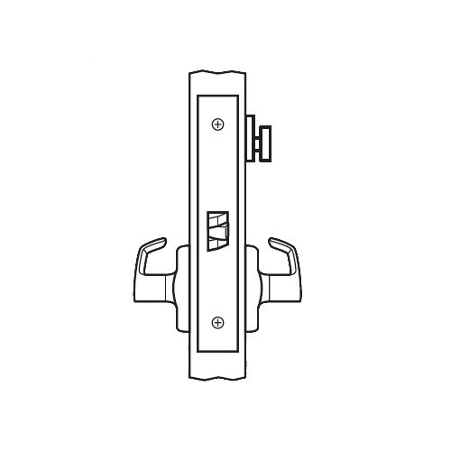 BM26-BRG-04 Arrow Mortise Lock BM Series Privacy Lever with Broadway Design and G Escutcheon in Satin Brass