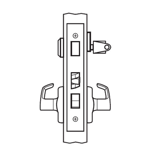 BM11-BRG-04 Arrow Mortise Lock BM Series Apartment Lever with Broadway Design and G Escutcheon in Satin Brass