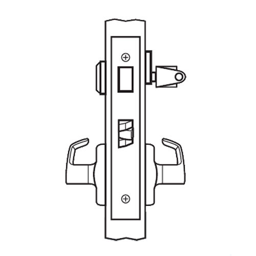 BM13-BRG-32 Arrow Mortise Lock BM Series Front Door Lever with Broadway Design and G Escutcheon in Bright Stainless Steel