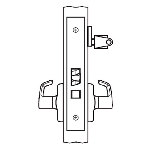 BM17-BRG-03 Arrow Mortise Lock BM Series Classroom Lever with Broadway Design and G Escutcheon in Bright Brass