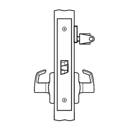 BM24-BRG-03 Arrow Mortise Lock BM Series Storeroom Lever with Broadway Design and G Escutcheon in Bright Brass