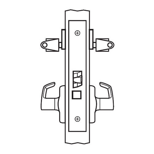 BM33-BRG-03 Arrow Mortise Lock BM Series Storeroom Lever with Broadway Design and G Escutcheon in Bright Brass