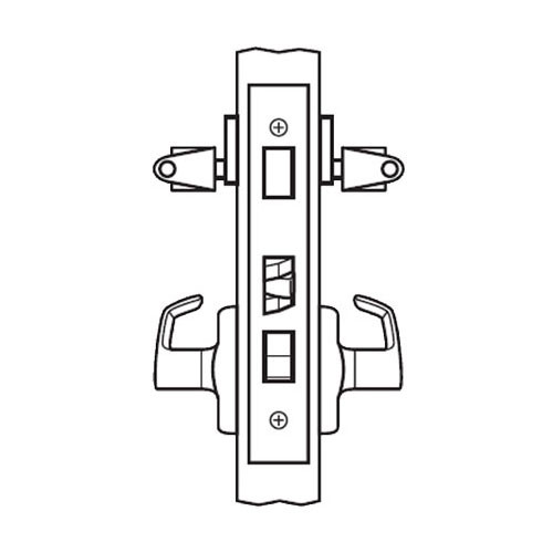 BM34-BRG-03 Arrow Mortise Lock BM Series Storeroom Lever with Broadway Design and G Escutcheon in Bright Brass