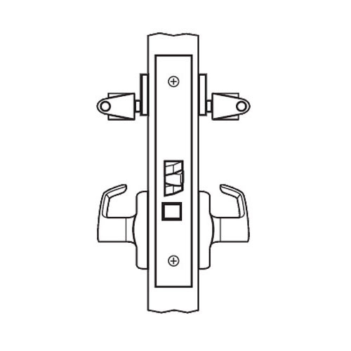 BM38-BRG-26 Arrow Mortise Lock BM Series Classroom Security Lever with Broadway Design and G Escutcheon in Bright Chrome