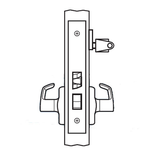 BM23-JH-03 Arrow Mortise Lock BM Series Vestibule Lever with Javelin Design and H Escutcheon in Bright Brass