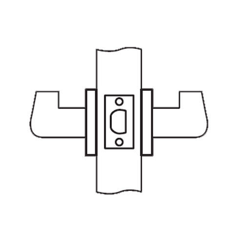 RL01-SR-04 Arrow Cylindrical Lock RL Series Passage Lever with Sierra Trim Design in Satin Brass