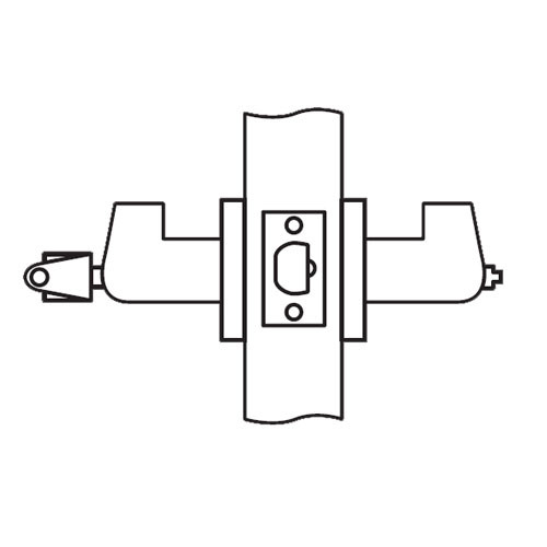 RL11-SR-04 Arrow Cylindrical Lock RL Series Entrance Lever with Sierra Trim Design in Satin Brass