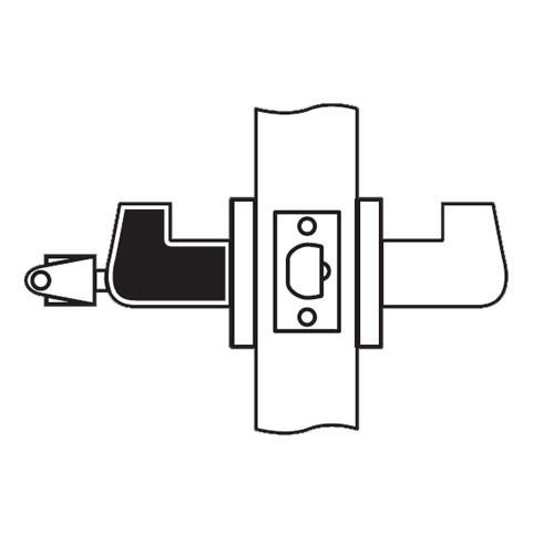 RL12-SR-04 Arrow Cylindrical Lock RL Series Storeroom Lever with Sierra Trim Design in Satin Brass