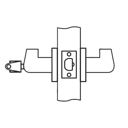 RL17-SR-26 Arrow Cylindrical Lock RL Series Classroom Lever with Sierra Trim Design in Bright Chrome