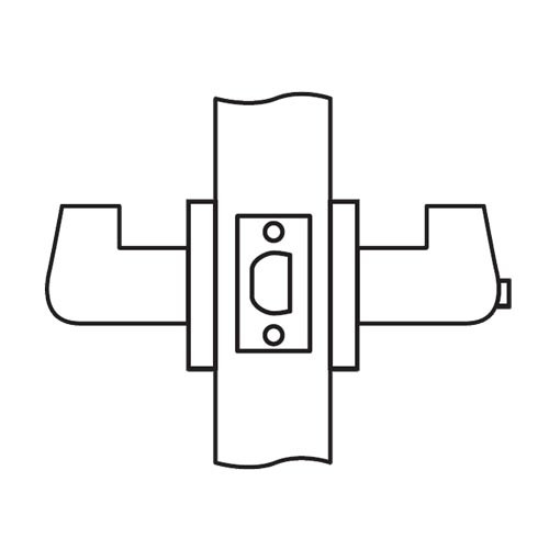 CL04-OC-03-RHR Arrow Cylindrical Lock with Orion Lever Design in Bright Brass