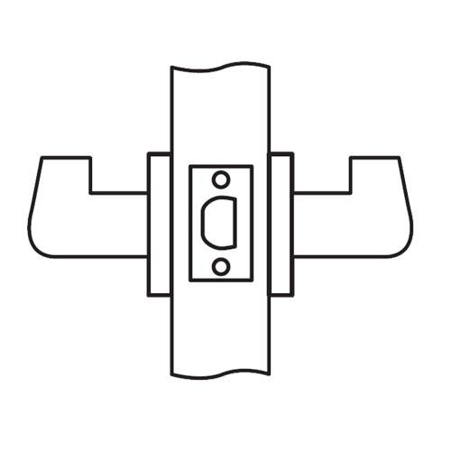 CL01-LC-04-RHR Arrow Cylindrical Lock with Lunar Lever Design in Satin Brass