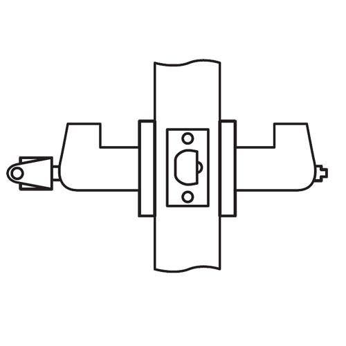 CL11-LC-04-RHR Arrow Cylindrical Lock with Lunar Lever Design in Satin Brass