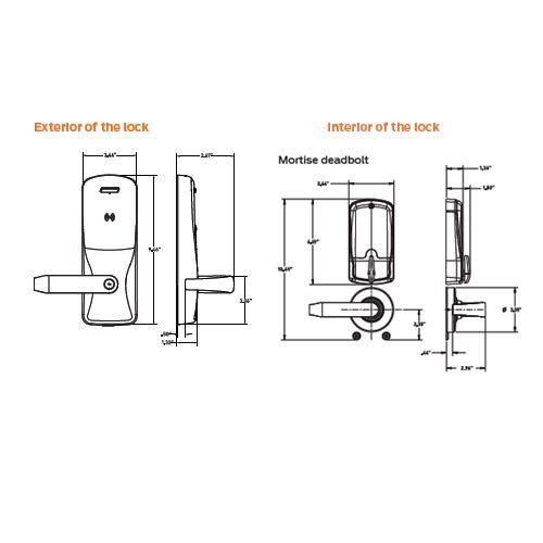 CO200-MD-40-PR-SPA-PD-605 Mortise Deadbolt Standalone Electronic Proximity Locks in Bright Brass