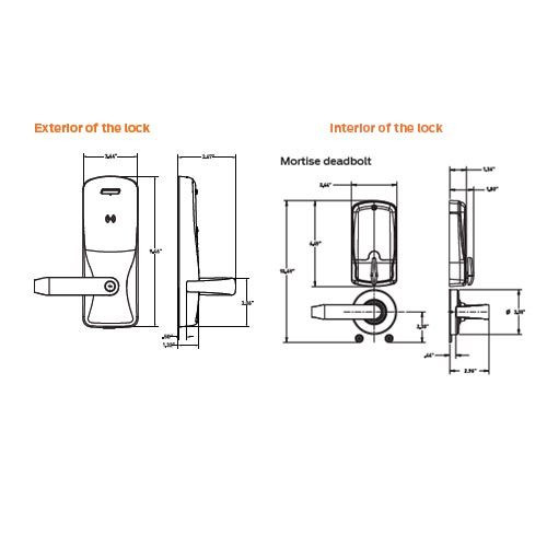 CO200-MD-40-PRK-TLR-PD-626 Mortise Deadbolt Standalone Electronic Proximity with Keypad Locks in Satin Chrome