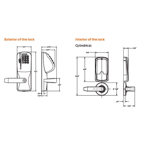 CO250-CY-40-MS-ATH-PD-626 Schlage Privacy Rights on Magnetic Stripe with Cylindrical Locks in Satin Chrome