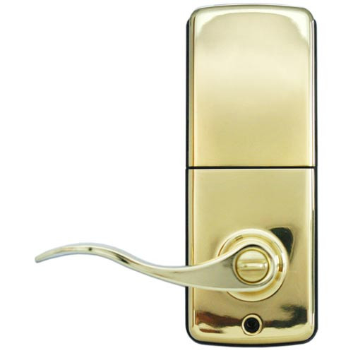 LS-L5i-PB-A LockState Electronic Wi-Fi Keypad Lever Lock in Polished Brass