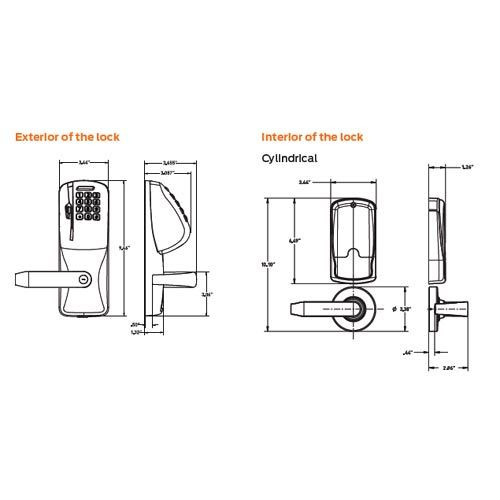 CO250-CY-70-MSK-SPA-PD-612 Schlage Classroom/Storeroom Rights on Magnetic Stripe with Keypad Cylindrical Locks in Satin Bronze