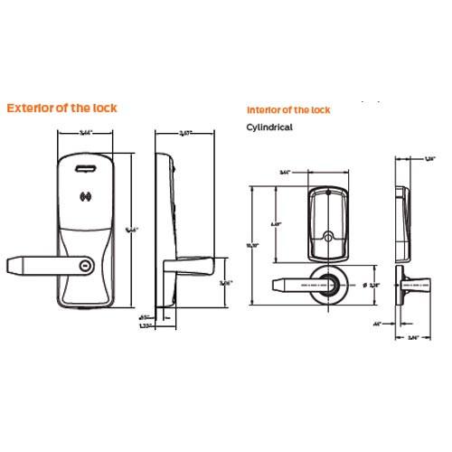 CO220-CY-75-MSK-RHO-PD-606 Schlage Classroom Lockdown Cylindrical Swipe with Keypad Lock Rhodes Lever in Satin Brass