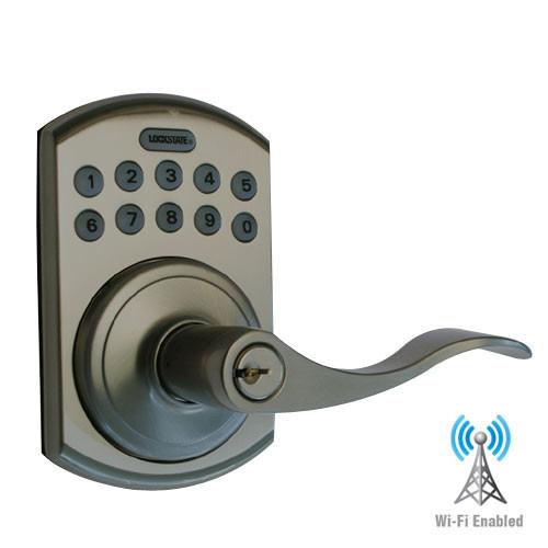 LS-L5i-RB-B LockState Electronic Wi-Fi Keypad Lever Lock in Rubbed Bronze