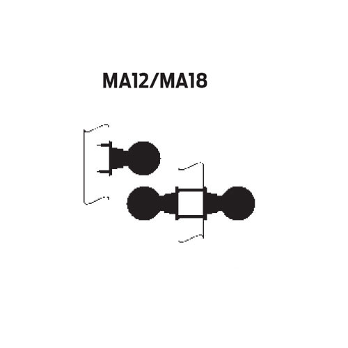 MA12-AN-606 Falcon Mortise Locks MA Series Half Dummy AN Lever with Escutcheon Style in Satin Brass