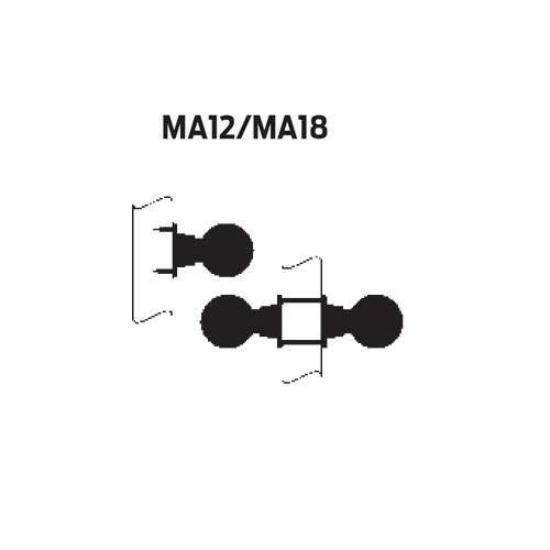 MA12-DN-605 Falcon Mortise Locks MA Series Half Dummy DN Lever with Escutcheon Style in Bright Brass