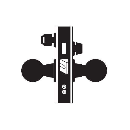 MA621P-HN-606 Falcon Mortise Locks MA Series Front Door HN Knob with Escutcheon Style in Satin Brass
