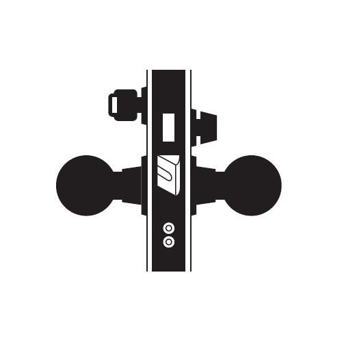 MA621P-HN-625 Falcon Mortise Locks MA Series Front Door HN Knob with Escutcheon Style in Bright Chrome