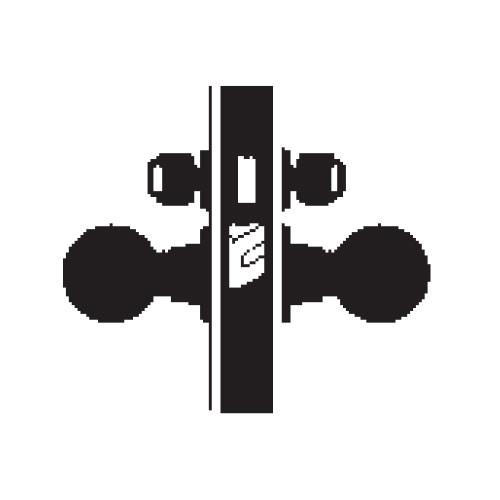 MA371P-HN-606 Falcon Mortise Locks MA Series Store Door HN Knob with Escutcheon Style in Satin Brass