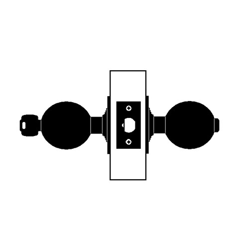 X501PD-TG-605 Falcon X Series Cylindrical Entry Lock with Troy-Gala Knob Style in Bright Brass