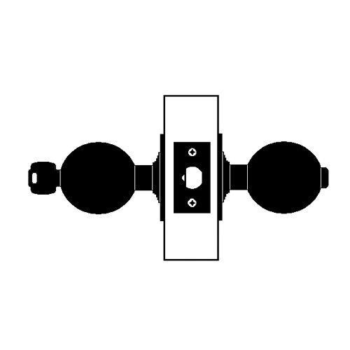 X511PD-TG-625 Falcon X Series Cylindrical Entry/Office Lock with Troy-Gala Knob Style in Bright Chrome