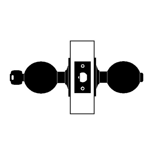 X521PD-EY-625 Falcon X Series Cylindrical Office Lock with Elite-York Knob Style in Bright Chrome