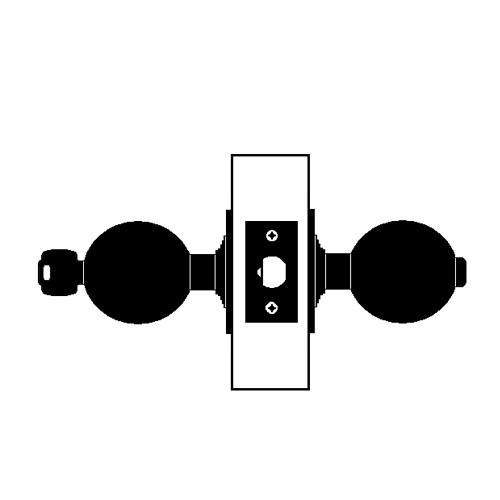 W571PD-H-606 Falcon W Series Cylindrical Corridor Lock with Hana Knob Style in Satin Brass