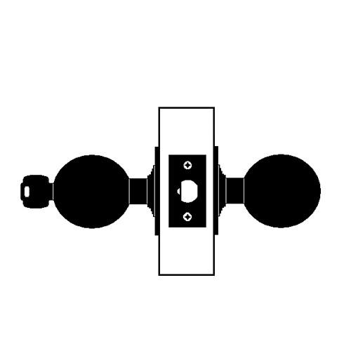 W581PD-H-606 Falcon W Series Cylindrical Storeroom Lock with Hana Knob Style in Satin Brass