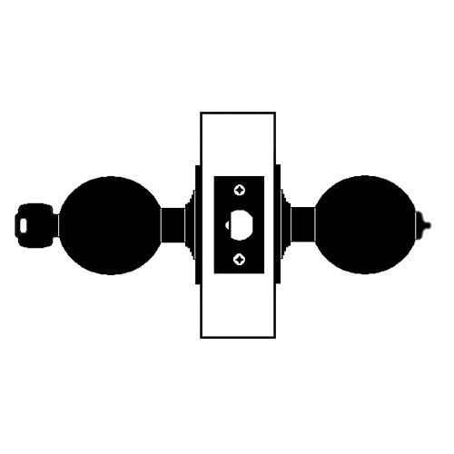 W711PD-H-605 Falcon W Series Cylindrical Apartment Entry Lock with Hana Knob Style in Bright Brass